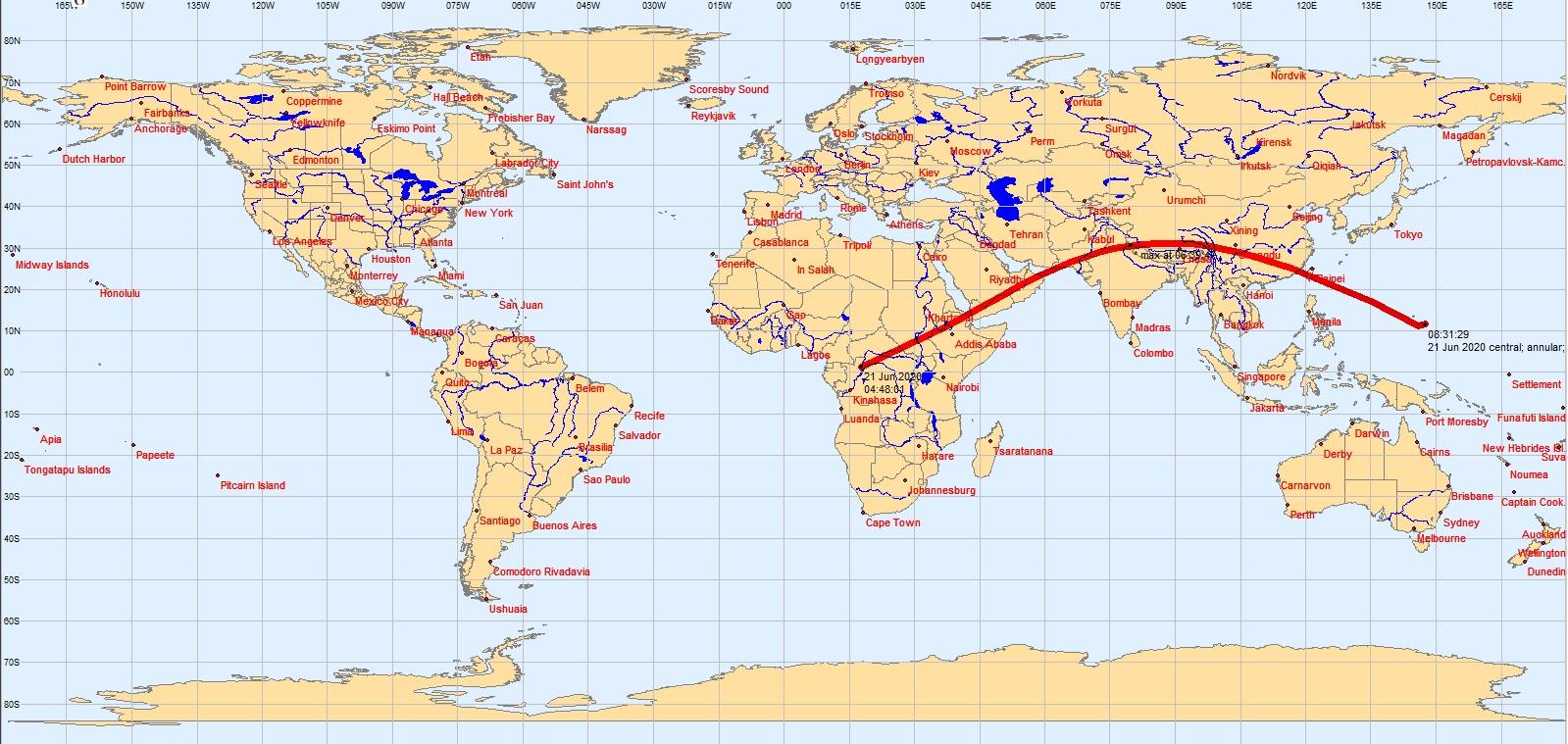 June 21 2020 Solar Eclipse Map